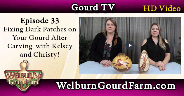 33: How to Fix Discolored Carved Areas on Your Gourd Art with Kelsey and Christy