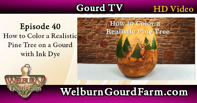 40: How to Color a Realistic Pine Tree on a Gourd